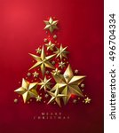 Christmas Tree made of Cutout Gold Foil Stars on Red Background. Chic Christmas Greeting Card. | Shutterstock vector #496704334