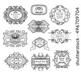 labels set   isolated on black... | Shutterstock .eps vector #496709704
