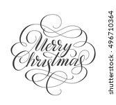 merry christmas lettering. hand ... | Shutterstock .eps vector #496710364