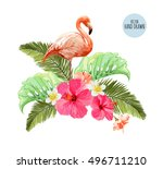 hand drawn pink flamingo ... | Shutterstock .eps vector #496711210