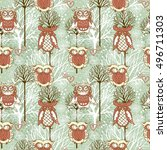 winter seamless pattern with...   Shutterstock .eps vector #496711303