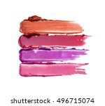 collection of smudged lipsticks ... | Shutterstock . vector #496715074
