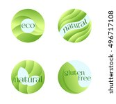 set of green labels for fresh... | Shutterstock . vector #496717108