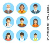 asian family happy faces.... | Shutterstock .eps vector #496718068