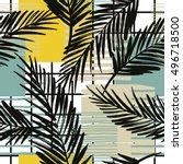 trendy seamless exotic pattern... | Shutterstock .eps vector #496718500