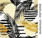 trendy seamless exotic pattern... | Shutterstock .eps vector #496718548