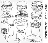 some doodled fast food elements | Shutterstock .eps vector #496719580