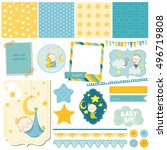 baby boy sleeping theme    for... | Shutterstock .eps vector #496719808