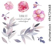 watercolor floral set. hand... | Shutterstock . vector #496724668