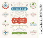 christmas labels and badges... | Shutterstock .eps vector #496724830