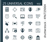set of 25 universal icons on... | Shutterstock .eps vector #496725004