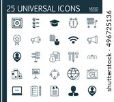 set of 25 universal icons on... | Shutterstock .eps vector #496725136