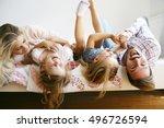 family with two children having ... | Shutterstock . vector #496726594