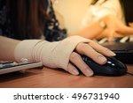 asian women hand sore working... | Shutterstock . vector #496731940