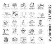 thin line engineering icons set ... | Shutterstock .eps vector #496738480