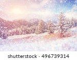 magical winter landscape ... | Shutterstock . vector #496739314