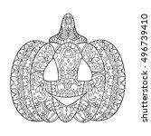 halloween pumpkin coloring book ... | Shutterstock .eps vector #496739410