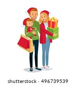 young couple with child go for... | Shutterstock .eps vector #496739539