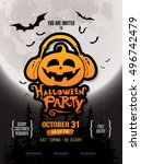 halloween party poster. vector... | Shutterstock .eps vector #496742479