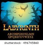 fantasy gold style alphabet... | Shutterstock .eps vector #496745860