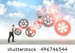 man put abstract 3d metal... | Shutterstock . vector #496746544