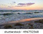 michigan summer beach sunset... | Shutterstock . vector #496752568
