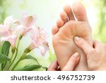 macro close up of foot massage... | Shutterstock . vector #496752739