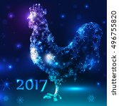 vector fiery rooster on new... | Shutterstock .eps vector #496755820
