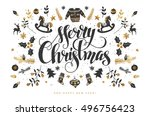merry christmas calligraphic... | Shutterstock .eps vector #496756423