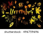 hello november  bright fall... | Shutterstock .eps vector #496759696