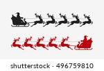 santa sleigh reindeer... | Shutterstock .eps vector #496759810