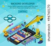 mobile app development ... | Shutterstock .eps vector #496760170