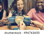 young woman drinking coffee... | Shutterstock . vector #496763650