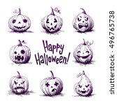 Stock vector hand drawn sketch illustrations of a carved pumpkins halloween night 496765738