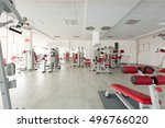 gym interior with equipment   | Shutterstock . vector #496766020