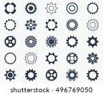 collection of black gear wheel... | Shutterstock .eps vector #496769050