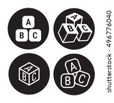 abc cubes icons set  black on a ... | Shutterstock .eps vector #496776040