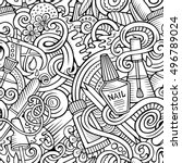 cartoon cute doodles hand drawn ... | Shutterstock .eps vector #496789024
