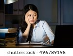 asian business woman sitting at ... | Shutterstock . vector #496789198