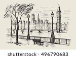vector hand drawn landscape of... | Shutterstock .eps vector #496790683
