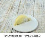 durian peeled fruit plate... | Shutterstock . vector #496792060