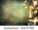 bottle of champagne.celebration ... | Shutterstock . vector #496797586