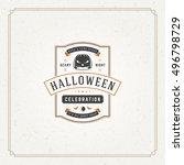 halloween typographic greeting... | Shutterstock .eps vector #496798729