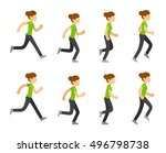 running woman animation frames... | Shutterstock .eps vector #496798738