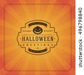 halloween typographic greeting... | Shutterstock .eps vector #496798840
