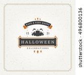 halloween typographic greeting... | Shutterstock .eps vector #496800136