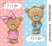 baby shower greeting card with... | Shutterstock .eps vector #496801360
