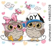 two cute owls on a hearts... | Shutterstock .eps vector #496801528
