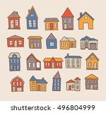 hand drawn house vector set | Shutterstock .eps vector #496804999
