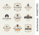 halloween celebration labels... | Shutterstock .eps vector #496807393